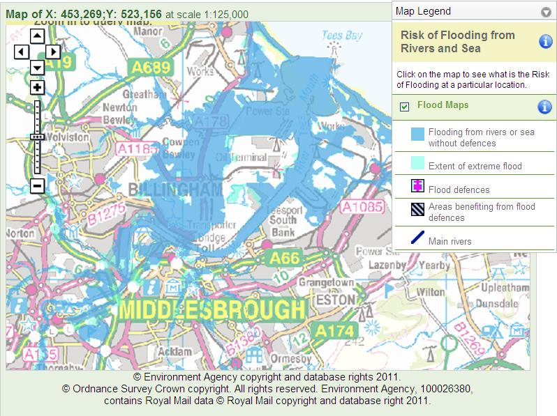Environment Agency Flood Risk Map Hazards in Britain