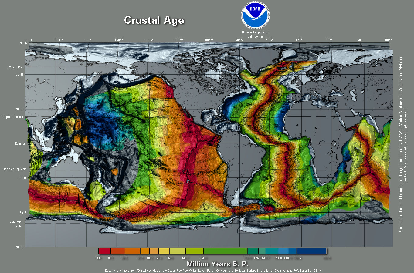 Graphic Of Crustal Ages Either Side Of The Mid Atlantic Ridge