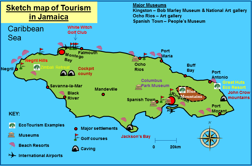 Tourism in the Tropics – Tourist Attractions Map In Jamaica