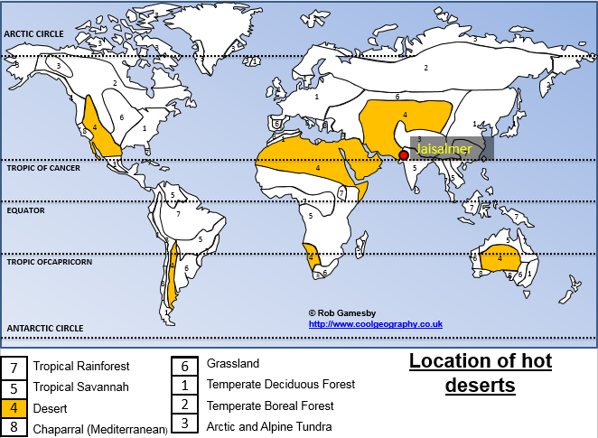 Location of Hot Deserts