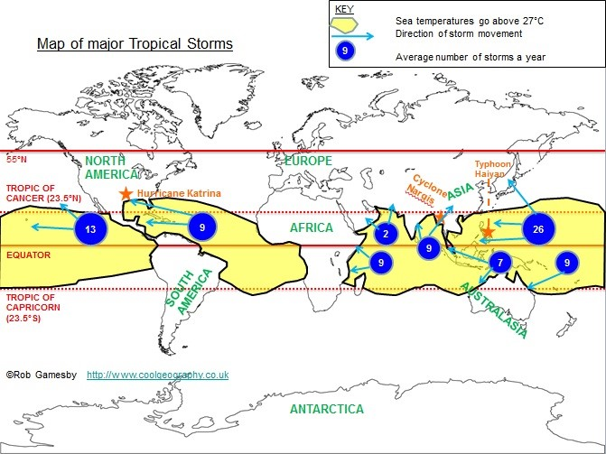 Location of Tropical Storms
