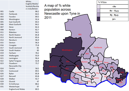 % White population across Newcastle