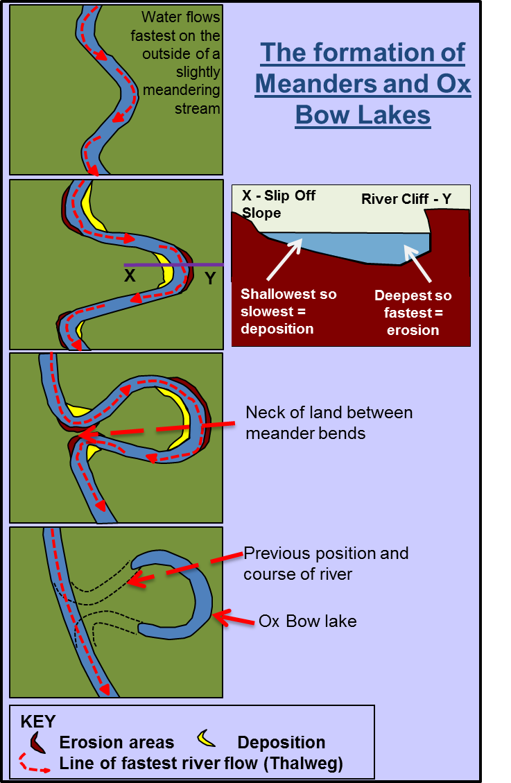 Meanders and ox bow lakes