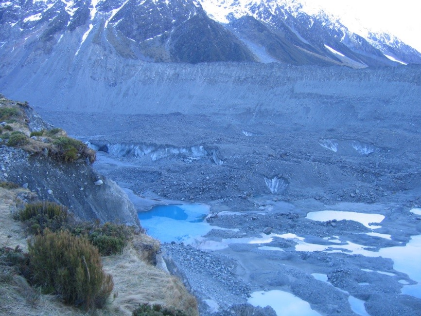 Glacial debris near Mount Cook